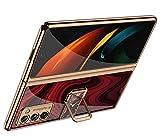 XJZ Compatible para Samsung Galaxy Z Fold 2-5G Carcasa(2020) Funda+3D Vidrio Templado Protector de Pantalla/Caja Skin Hard Silicona Cojín Antigolpes Caso Bumper 360° Giratorio Anillo Soporte Funda-10