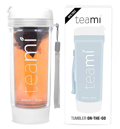 Teami Tea Tumbler Infuser Bottle - White, 20 Ounce - BPA FREE - Double Walled Mug, Hot or Cold - Our Best Infusion Bottles for Infused Fruit, Smoothies, Tea, even Coffee