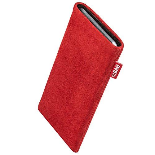 fitBAG Folk Rot Handytasche Tasche aus feinem Wildleder Echtleder mit Microfaserinnenfutter für Haier Ginger G7 | Hülle mit Reinigungsfunktion | Made in Germany