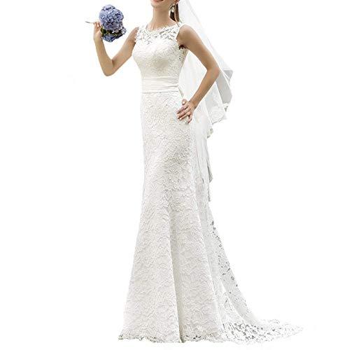 YASIOU Hochzeitskleid Damen Standesamt Spitze Lang Meerjungfrau Hochzeitskleider Brautkleider Brautmode Rückenfrei mit Schleppe