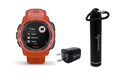 Garmin Instinct Rugged GPS Watch with Included Wearable4U Compact Power Pack Bundle (Flame Red)