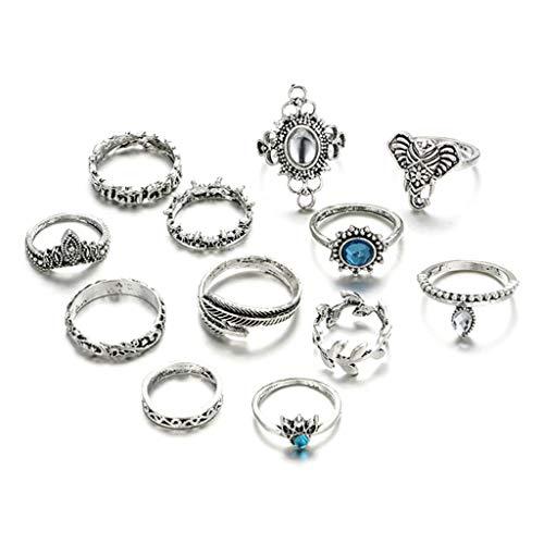 Q-XIAOKEAI Conjunto de 12 peças/conjunto de anéis de articulação, coroa criativa, requintada, vintage, moderno, dedo, midi, boêmia, feminino, joias, berloques, conjunto de combinação