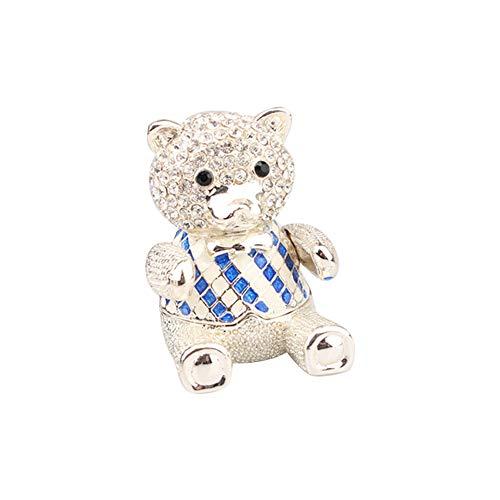 Caja de joyería esmaltada con forma de oso azul con diamantes de imitación para decoración del hogar, pendientes, collar y caja de almacenamiento.