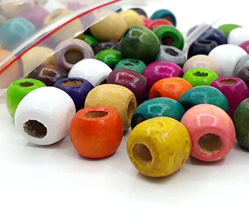 200 perlas de madera de 12 mm, agujero grande de 5 mm para enhebrar, bolas de madera, redondas, multicolor, set para manualidades, manualidades y bisutería