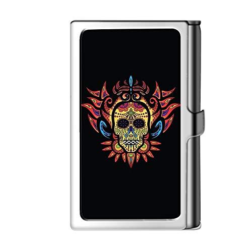 Porta tarjeta de visita con diseño astillado, caja de crédito con nombre de monedero de acero inoxidable para hombres y mujeres-Skull
