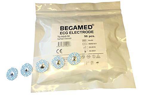 EKG-Elektroden für Erwachsene, 50 mm, Packung mit 50 Stück, Ag/AgCI, hochwertig, CE-zertifiziert.