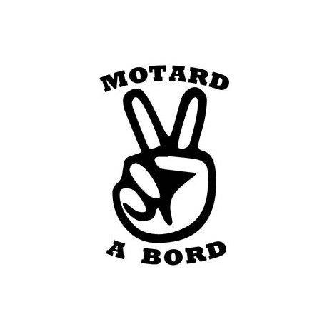 Autocollant Motard à Bord moto sticker - Taille : 17 cm - Couleur : noir