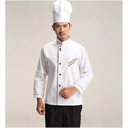 F Fityle Weiß Langarm Kochjacke Bäckerjacke mit Knöpfe Gastronomie Arbeitskleidung Koch Küchen Uniformen Kochkleidung – Weiß, XXL - 2