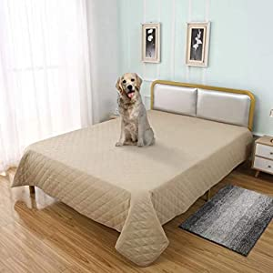 TOMORO 100% Waterproof Bed Cover for Dogs – Reversible Furniture Protector Sofa Cover Washable Reusable Incontinence Bed Underpads Blanket for Pets Kids Children Cat