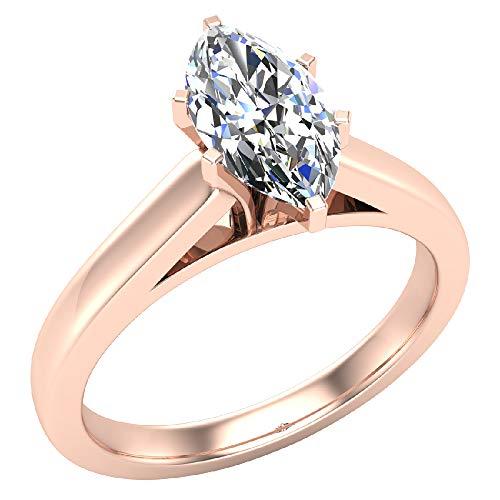 Glitz Design Mujer Niños Hombre Unisex oro 14 quilates (585) oro rosa 14ct marquesa H-I Diamond