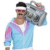 Amakando Radio Retro años 80 Inflable / 50 cm en Plateado / Reproductor de Cassettes años 80 para inflar / El Centro de atención para Fiestas temáticas y Fiestas Retro