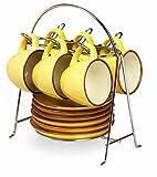 IMUSA USA Espresso Set with Chrome Storage Rack 12-Piece, Yellow
