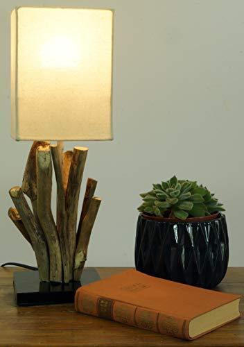 Lámpara de Mesa/lámpara de Mesa Vigo, Madera de Deriva, Algodón, Hecho a Mano en Bali de Material Natural - Modelo Vigo, Maderaaladeriva, 43x15x15 cm, Lámparas de Mesa de Materiales Naturales