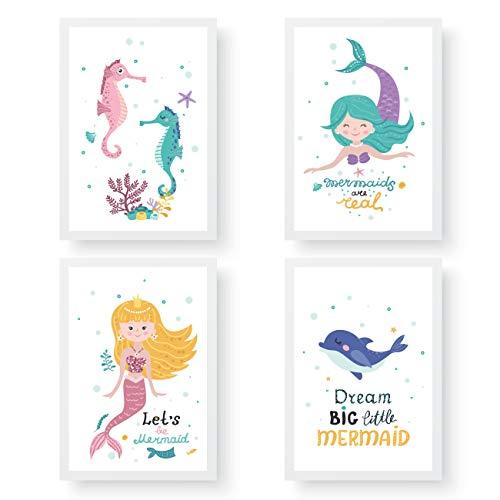 Papierdrachen 4 Kinder Premium Poster DIN A4   Wandbilder für Kinderzimmer - Meerjungfrau - hochwertige Kunstdrucke   Dekoration   Wandbild Set
