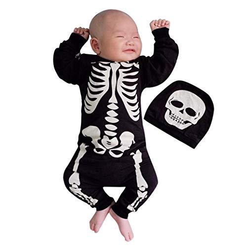 Kolylong Halloween Cosplay Costume Barboteuse Combinaison Déguisement Squelette imprimée + Casquette Chapeau pour Nouveau né Bébé garçons Filles Tenues Ensemble de vêtements en Coton 6 à 24 Mois