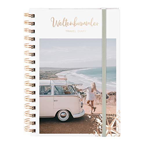 goldbuch 66110 Reisetagebuch Momentesammler, Serie LieblingsDINGE by goldbuch, Tagebuch mit 122 illustrierte Seiten für Urlaub und Reisen, Travel Diary mit Kunstdruck, ca. 15,7 x 21 x 2 cm, weiß