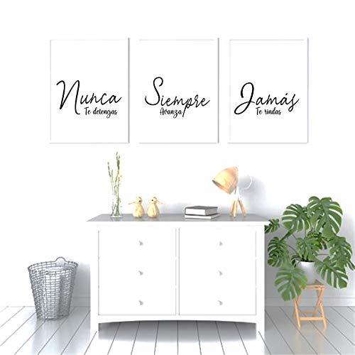 Triptico de Cuadros decoración salón o habitación moderno, impresos con frase motivadora