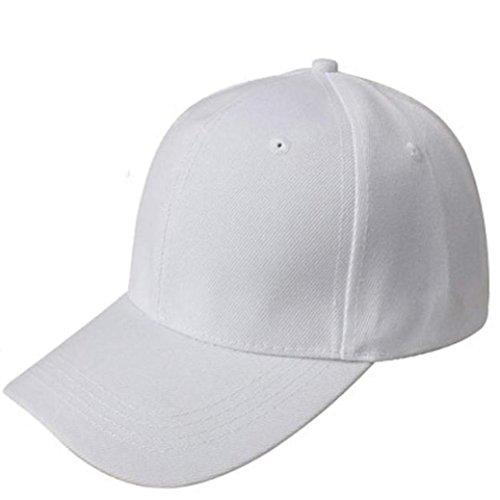 Resplend Unisex Einfarbig Baseball Cap Beiläufig Einstellbar Snapback-Kappe Hip Hop Hut Mesh Visier Mütze Cap (Weiß)