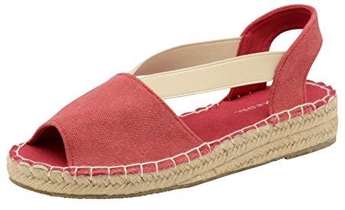 Dunlop DLC133 Minna - Espadrilles para mujer, tacón bajo, color Rojo, talla 38 EU