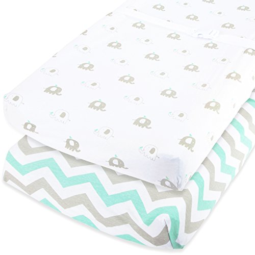 Cuddly Cubs Baby Changing Table Pad Cover Set For Boy & Girl   Soft & Breathable 100% Jersey Cotton   Adorable Unisex Patterns & Fitted Elastic Design   Cute Nursery & Cradle Bedding Sheets 2-Pack