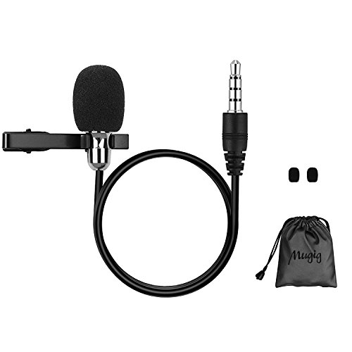 Lavalier Microphone, Mugig Lapel Microphone, with Easy Clip on System, Compatible for Android & iOS Smartphones, YouTube, Interview, Video Conference, Podcast, Noise Cancelling Mic (Black)
