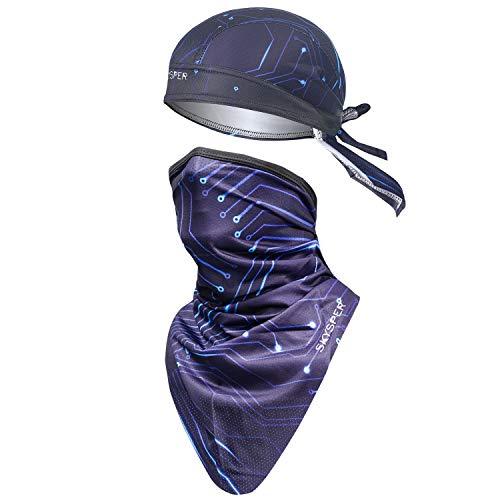 SKYSPER Pañuelos Cabeza Bufanda para Ciclismo Moto Máscara 2piezas Protección UV Seda Hielo Protector Solar Seca Rápido Transpirable Sombrero de Pirata Unisex para Bicicleta Deportes al Aire Libre