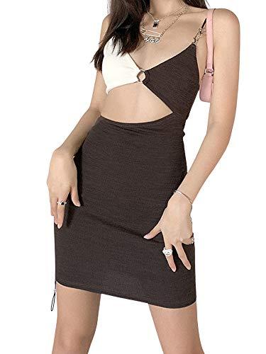 ChouZZ Minivestido ajustado para mujer, sin mangas, cuello en V profundo, bloque de color, hueco
