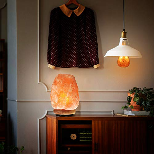 Elvissmart ES-1002 Natural Himalayan Pink Crystal Salt Lamp Night Light with Real Wood Base, (ELT Certified) Dimmer Switch, Perfect Holiday Gift | 7-11 LBS