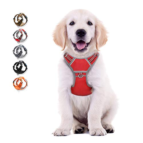 WALKTOFINE Dog Harness No Pull Reflective, Comfortable Harness with Handle,Fully Adjustable Pet Leash Vest for Small Medium Large Dog Breed Car Seat Harness Red S