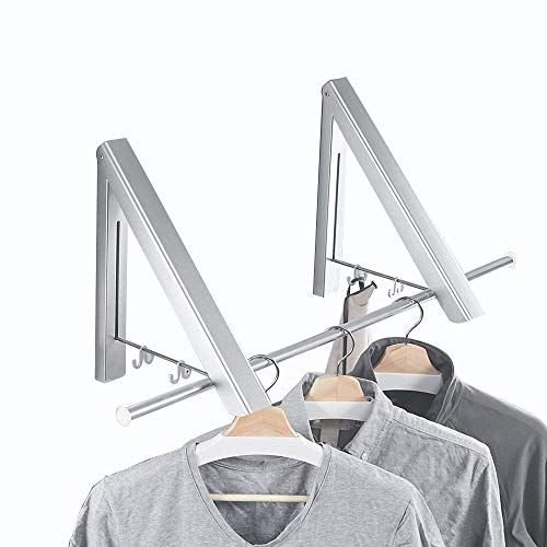 Yillsen Folding Wall Mounted Retractable Clothes Hanger, Aluminum Silver Folding Drying Coat Racks Home Storage Organiser Space Saver for Laundry Room - 2 Packs