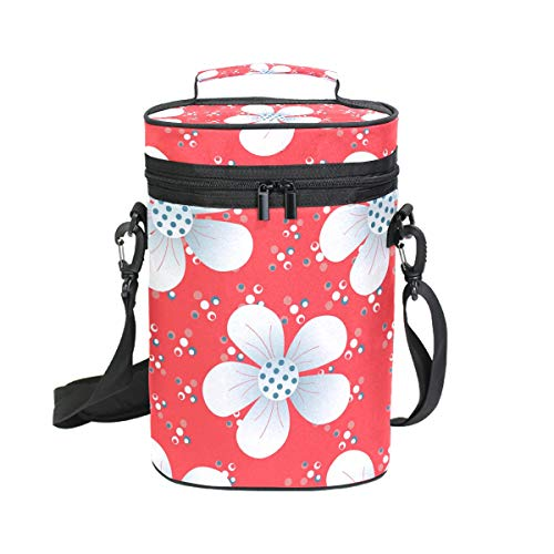 Malpela Weintasche mit weißen Blumen, für 2 Flaschen, ideal für Reisen, Veranstaltungen, Strand, Pool, Picknick