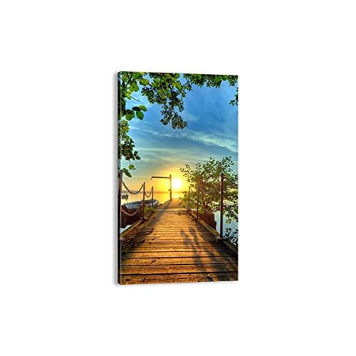 Quadro su tela - Elemento unico - Lago tramonto barca Paesaggio - 45x80cm - Pronto da appendere - Home Decor - Stampe su Tela - Quadri Moderni - completamente incorniciato - PA45x80-2573