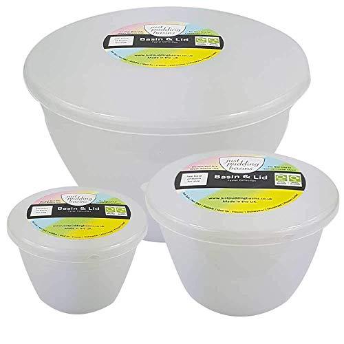 Just Pudding Basins 3 kleinere Größen in einem Set Dampf-Pudding-Schalen, Waschbecken und Deckel, 1 x 0,6 l, 1 x 0,6 l, 1 x 0,5 l (transparent).