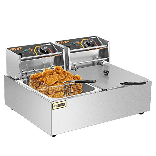 VIVOHOME 20.7 Qt Large Capacity Electric Deep Fryer with 2 x 6.35 QT Removable Baskets and Temperature Limiter for Commercial and Home Use