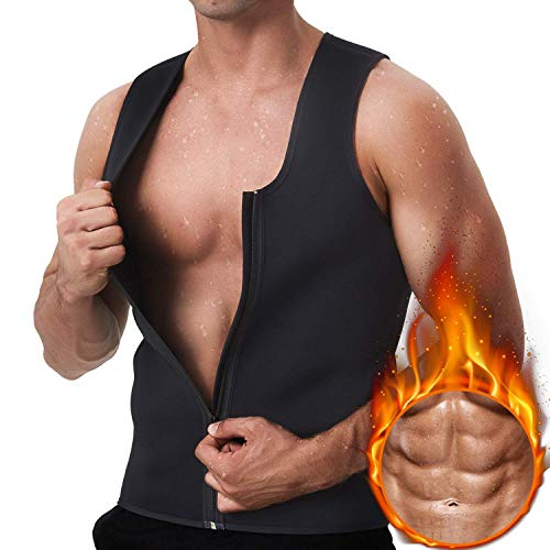 GKVK Men Waist Trainer Vest for Weightloss Hot Neoprene Corset Body Shaper Zipper Sauna Tank Top Workout Shirt (Renewed)