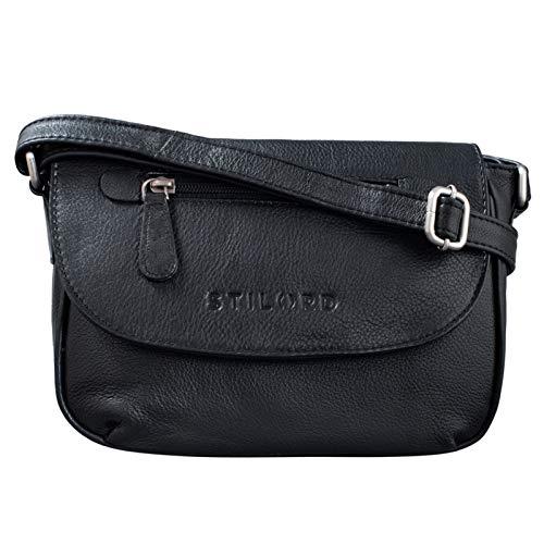 STILORD 'Tamara' Kleine Handtasche Damen Leder Schwarz Umhängetasche Vintage für Frauen zum Ausgehen Abendtasche Partytasche Elegante Echtleder Tasche
