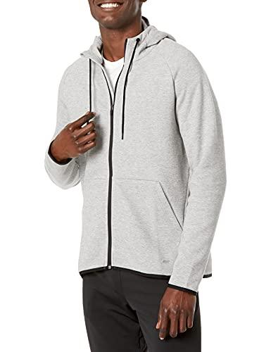 Amazon Essentials Men's Tech Fleece Full-Zip Hooded Active Sweatshirt, Light Grey Heather, Large
