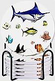 CIKYOWAY Posavasos para Bebidas,Acuario, Diferentes Especies de Peces en Pose Pez Espada Pez Payaso Aguas del Pacífico Hawaiano Fauna Decorativo Juego de 6 Posavasos con Soporte para casa