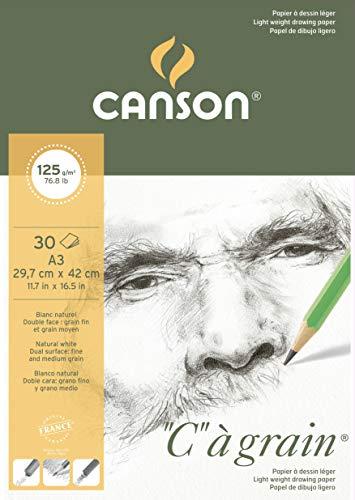 Canson 400060607 C a grain Zeichenpapier, A3, naturweiß