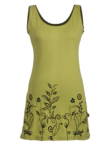 Vishes - Alternative Bekleidung - Ärmelloses Blumenshirt Blumenkleid Bedruckt und Bestickt aus Baumwolle hellgrün 42