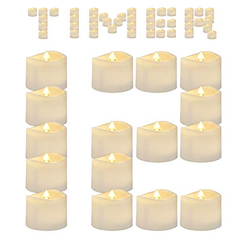 AMAGIC 12 Pack Flameless Tea Lights with Timer, Battery Operated Flickering LED TeaLight Candles for Thanksgiving Christmas Decor, 6 Hours on and 18 Hours Off, Warm White, D1.4'' H1.25'', Automatic