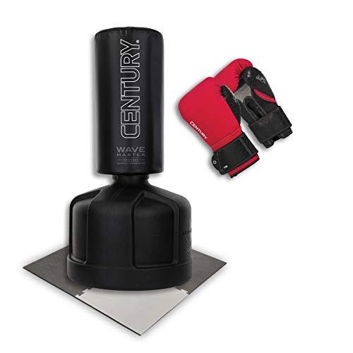 Century Standboxsack Original Wavemaster schwarz Bundle inkl. Boxhandschuhe & Unterlegmatte, freistehender Boxsack-Ständer, Trainingsgeräte Boxpartner einstellbar, Heavy Duty Boxing Erwachsene