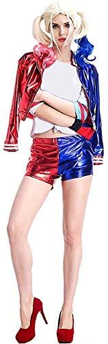 Costume Harley Suicide - Completo - Giacca - Pantaloncino - Guanto - Donna - Ragazza - Carnevale - Halloween - Cosplay - Film Idea Regalo per Natale e Compleanno - Taglia L