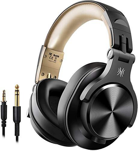 OneOdio A70 Auricurales Bluetooth Inalambricos 50H, Auriculares Cable de 3.5mm, Auriculares Diadema Cerrados 90° Ajustable con Puerto Compartido, para DJ Piano Guitarra Grabación y Monitorizac