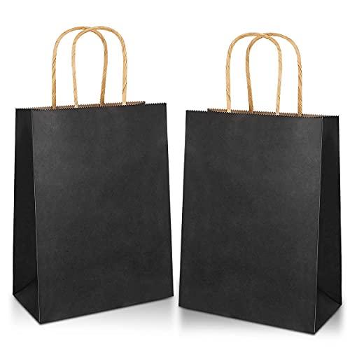15 piezas Bolsas de Papel 32x 26 x12CM,Bolsas de Papel con Asas,Bolsas Papel Kraft,Bolsas Papel Negro,Bolsas Regalo(Espesar 130gsm)