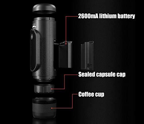 YLEI Machine à Expresso Portable, Petite Cafetière de Voyage Active 50 ML de Réservoir d'eau, Compatibles Nespresso Capsules, 2600mA Batterie au Lithium Rechargeable