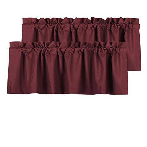 Valea Home Blackout Valance Curtains Waterproof Soft Rod Pocket Valance for Kitchen and Bathroom Window Room Darkening Valances for Bedroom, 2 Panels, 52 inch x 18 inch, Burgundy Red
