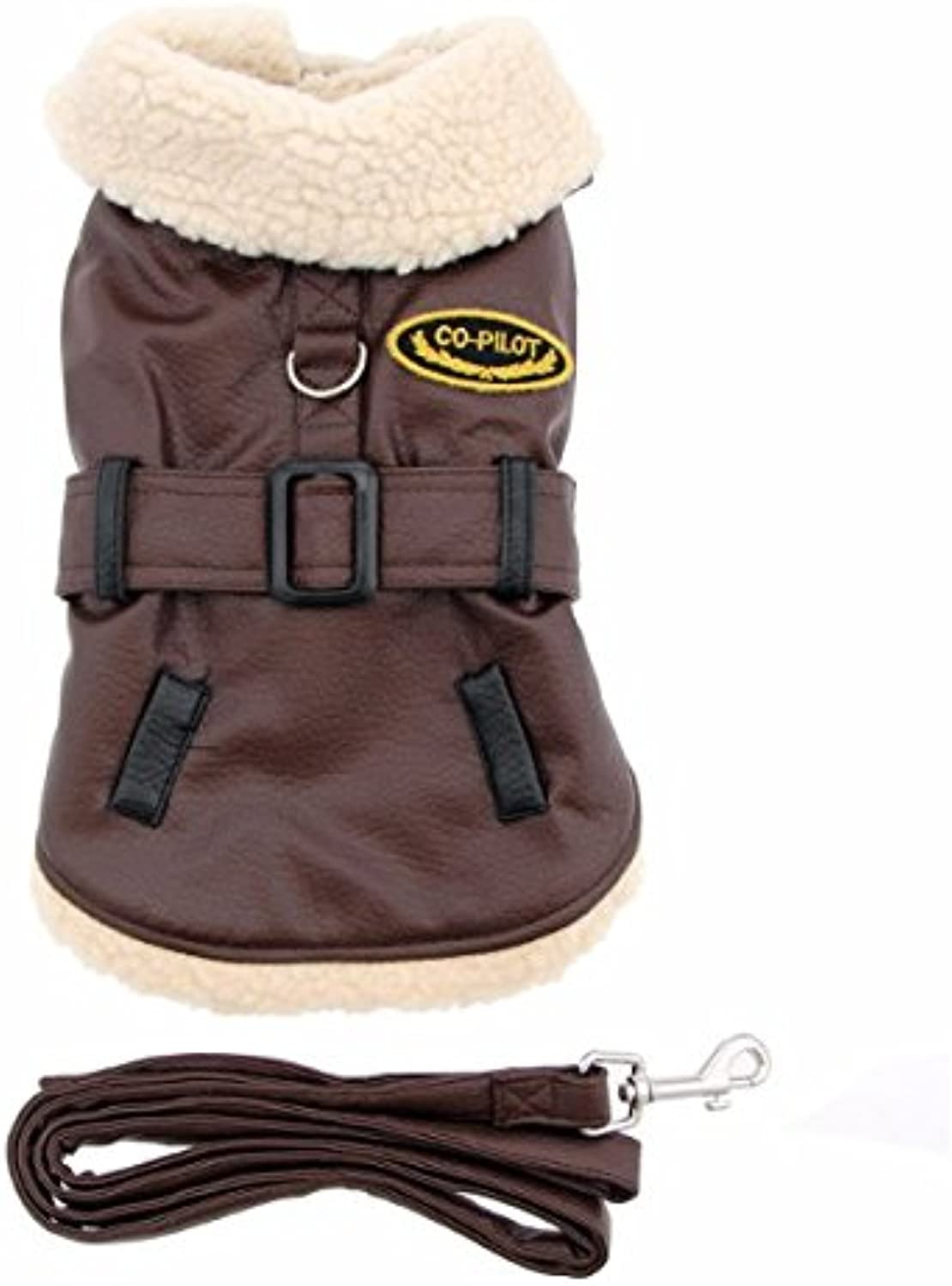 Brown and Black Faux Leather Bomber Dog Coat Dog Harness and Leash (Small)