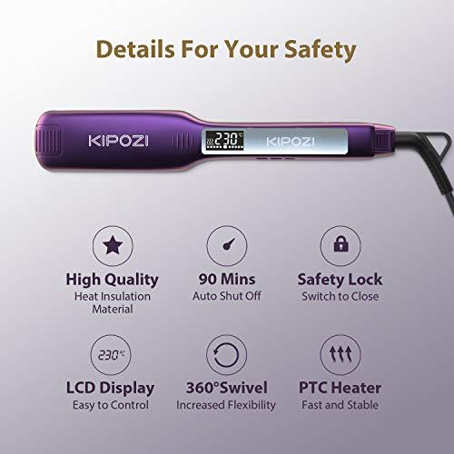 KIPOZI Piastra per Capelli Professionale con Piastra Larga in Titanio e Display Digitale Lcd, Temperatura Regolabile… Cura della persona