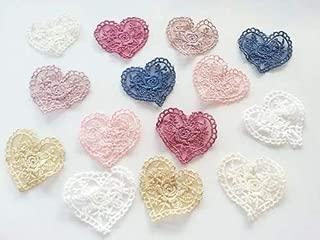 CraftbuddyUS 14 Vintage Lace Crochet Pastel Hearts Stick Sew on Fabric Motifs, Craft, Patches